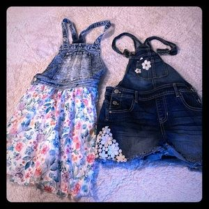 Girls overall shorts and dress